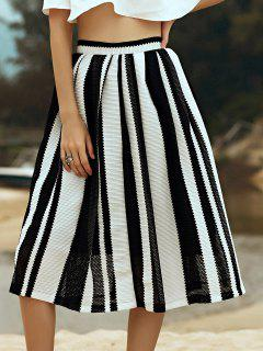 Hit Color Striped High Waist A-Line Skirt - Black L