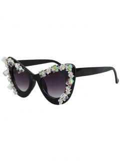 Quadrate Rhinestone Cat Eye Sunglasses - Black