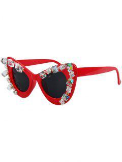Quadrate Rhinestone Cat Eye Sunglasses - Red