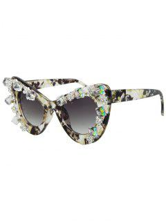 Rhinestone Flower Pattern Cat Eye Sunglasses - Light Yellow