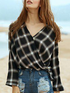 Plaid Draped Shirt - White And Black L