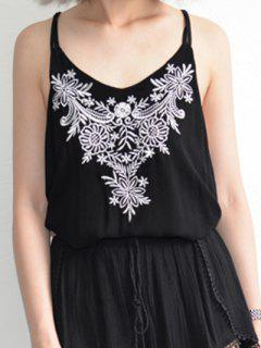 Flower Embroidered Cami Tank Top - Black