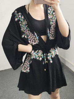 Flower Embroidery Plunging Neck Dress - Black