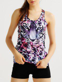 Floral And Tiger Print Active Tank Top - Purple Xl