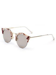 Stone Pattern Semi-Rimless Frame Sunglasses - Coffee