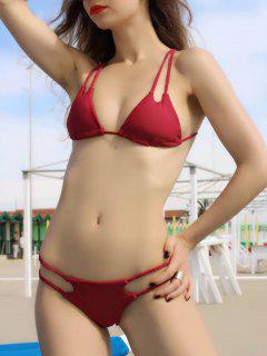 Élégant Solid Color Lace Up Halter Bikini Set - Rouge Vineux  L