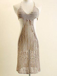 Crochet Halter Hollow Out Cover Up Dress - Camel
