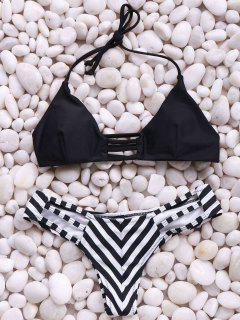Stripes Spaghetti Straps Bikini Set - Black L
