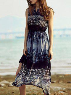 Retro Printed Stand Collar Sleeveless Dress - Purplish Blue L