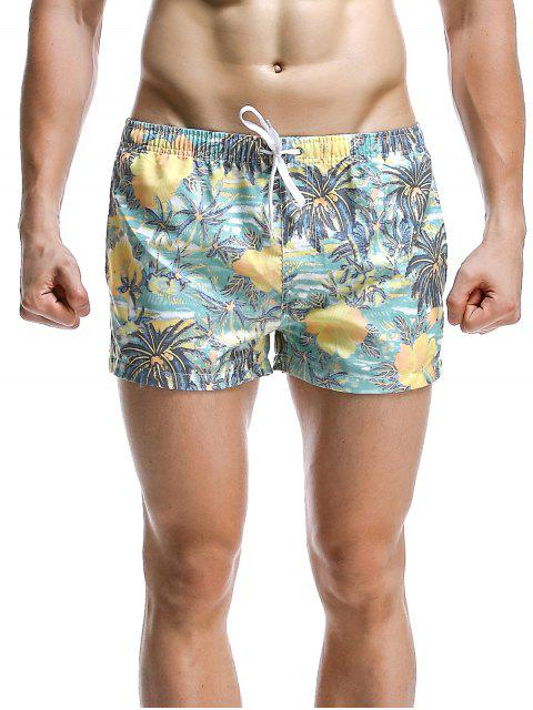 chic Fashion Coconut Tree Printed Boardshorts For Men - CYAN XL Mobile