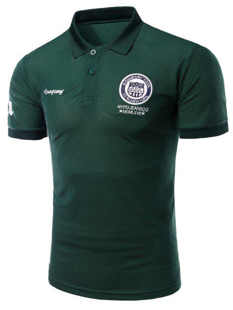 Mode Turn-down-Kragen-Stickerei gedruckt kurzen Ärmeln Polo-T-Shirt für Männer - Dunkelgrün 3XL Mobile