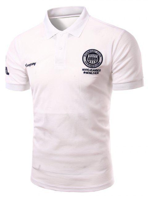 Mode Turn-down-Kragen-Stickerei gedruckt kurzen Ärmeln Polo-T-Shirt für Männer - Weiß 4XL Mobile