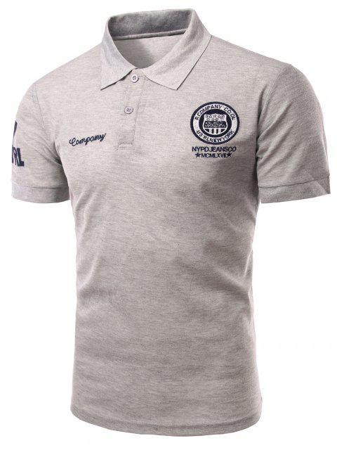 Mode Turn-down-Kragen-Stickerei gedruckt kurzen Ärmeln Polo-T-Shirt für Männer - Grau M Mobile