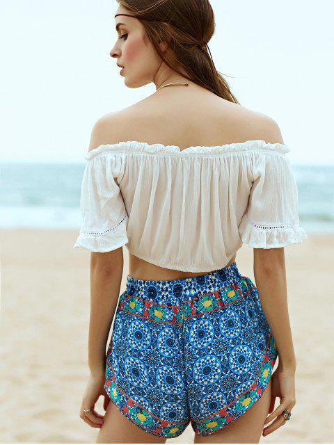 shop Vintage Printed Fringe High Wasit Shorts - DEEP BLUE L Mobile