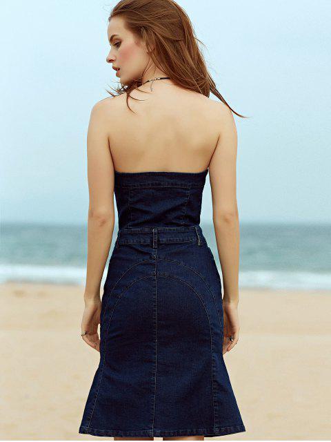 shop Single-Breasted Strapless Sleeveless Mermaid Dress - DEEP BLUE M Mobile