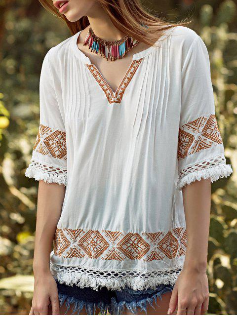 fashion Embroidery V Neck 3/4 Sleeve Blouse - WHITE S Mobile