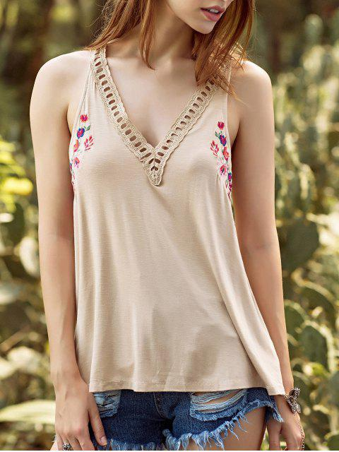 women's Embroidery V Neck Hollow Out Tank Top - APRICOT L Mobile