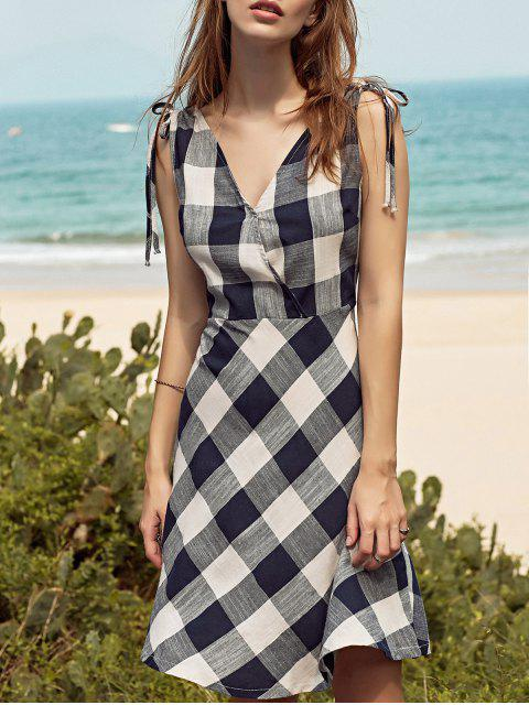 women Sleeveless Checked Fit and Flare Dress - COLORMIX M Mobile
