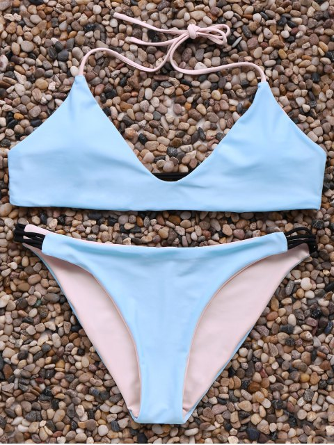 latest Halter Neck Contrast Bikini Set - ICE BLUE L Mobile