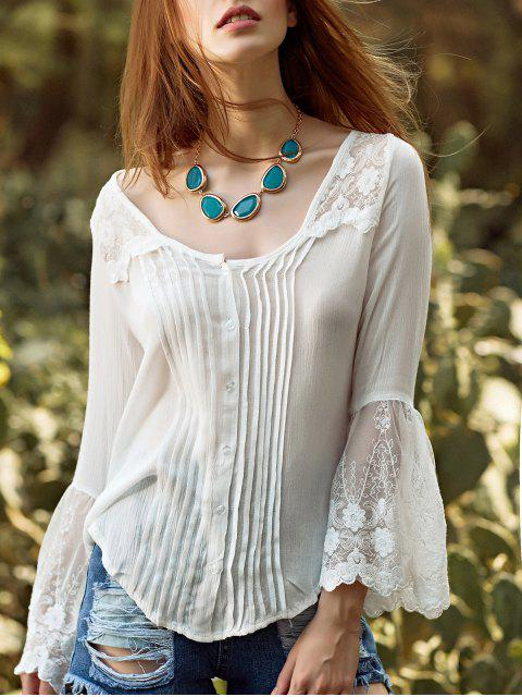 affordable White Lace Splicing Round Neck Flare Sleeve Blouse - WHITE S Mobile