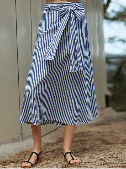 fancy Striped A-Line Belted Skirt - BLUE L Mobile