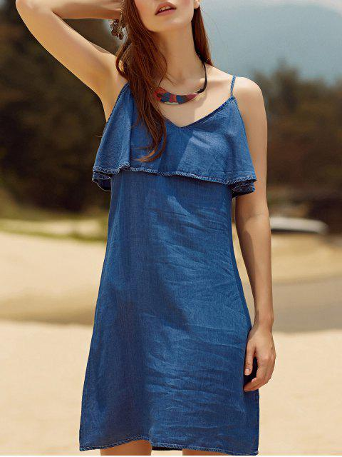 affordable Ruffled Chambray Cami Dress - BLUE M Mobile