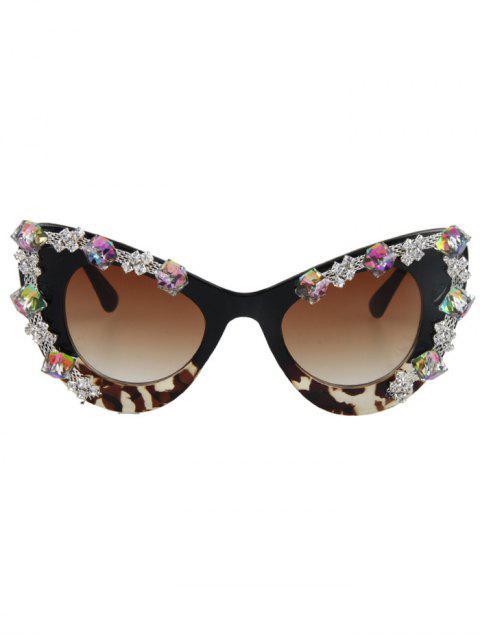 best Rhinestone Leopard Match Cat Eye Sunglasses - BLACK  Mobile