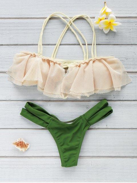 sale Frill Off The Shoulder Bikini Set - GREEN S Mobile