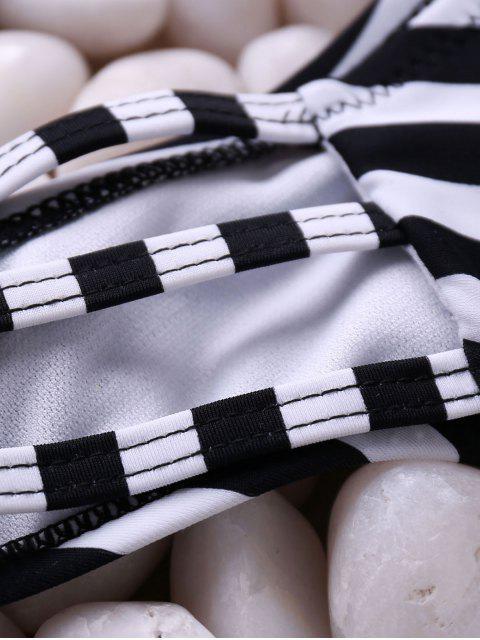 latest Stripes Spaghetti Straps Bikini Set - BLACK L Mobile
