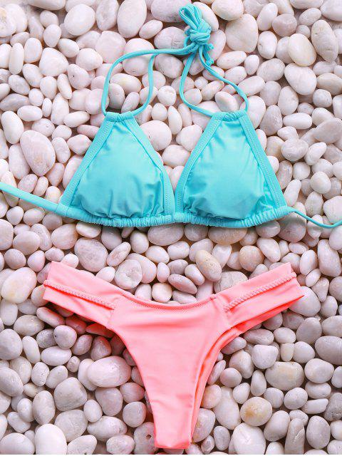 women Halter Hit Color Elastic Bikini Set - PINK + GREEN M Mobile