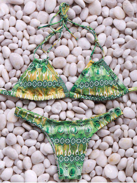 Conjunto de la cintura correas espaguetis Impreso Mediados del bikini - Verde L Mobile