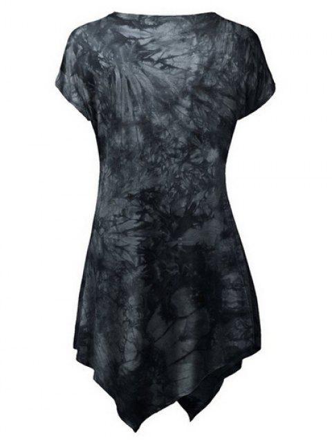 online Tie Dyed Hankerchief T-Shirt - BLACK L Mobile