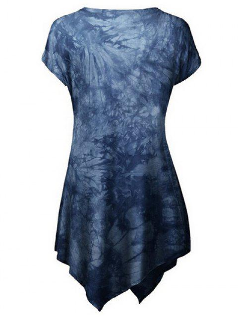 affordable Tie Dyed Hankerchief T-Shirt - DEEP BLUE XL Mobile