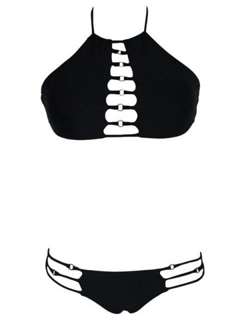 best Pure Color Cut Out Halter Bikini Set - BLACK M Mobile