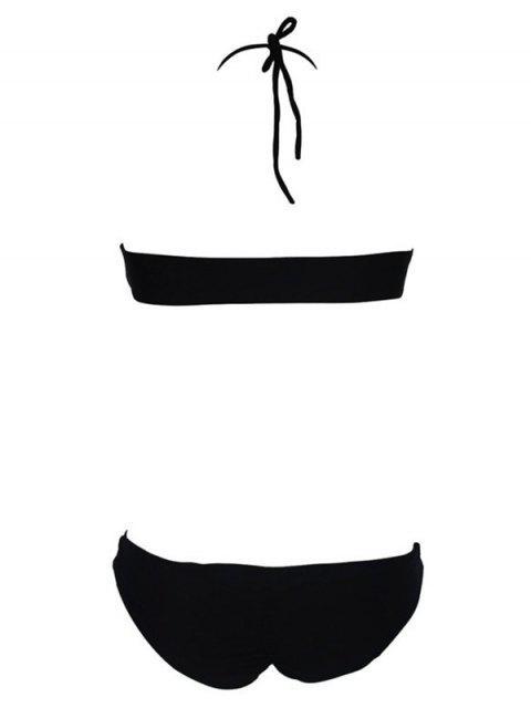 ladies Pure Color Cut Out Halter Bikini Set - BLACK XL Mobile