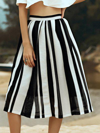 Hit Color Striped High Waist A-Line Skirt - Black M