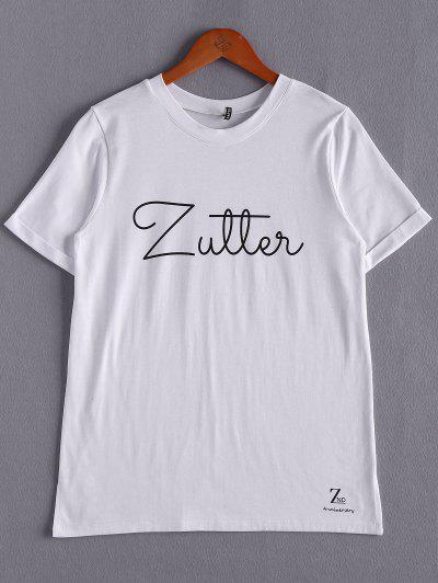 Blanc Lettrage T-shirt - Blanc
