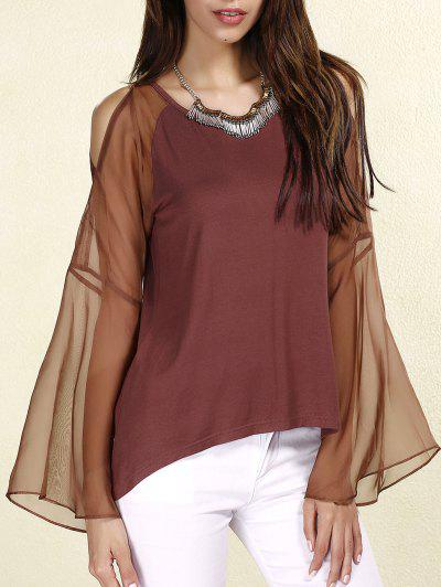 Sexy Scoop Neck Long Sleeves Chiffon Splicing T-Shirt For Women - Coffee S