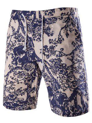 Casual Lace Up Tree Printing Boardshorts For Men