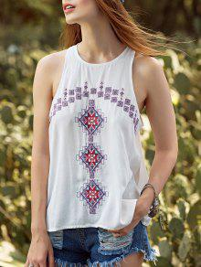 Ethnic Style Embroidery Round Neck Tank Top - White L