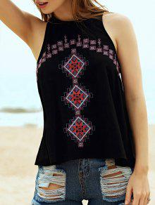 Buy Ethnic Style Embroidery Round Neck Tank Top - BLACK S