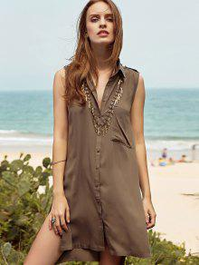 Buy High-Low Side Slit Shirt Collar Tank Top - ARMY GREEN M