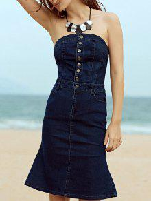 Single-Breasted Strapless Sleeveless Mermaid Dress - Deep Blue S