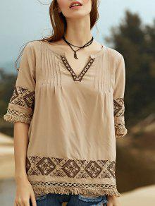 Embroidery V Neck 3/4 Sleeve Blouse - Apricot M