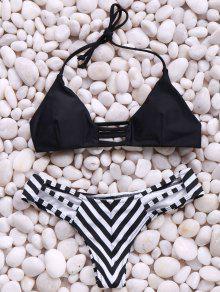 Stripes Spaghetti Straps Bikini Set - Black L