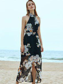 Floral Chiffon Beach Maxi Dress BLACK: Chiffon Dresses XL   ZAFUL