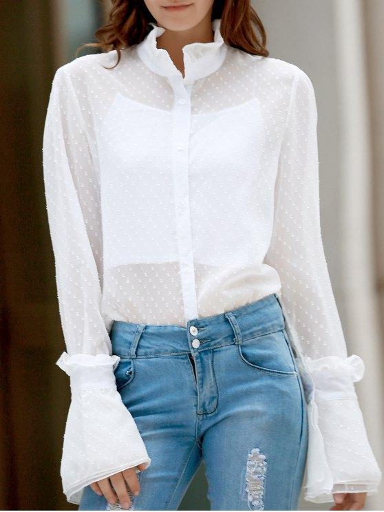 women Frilled Neckline See-Through Dotted Shirt - WHITE 2XL