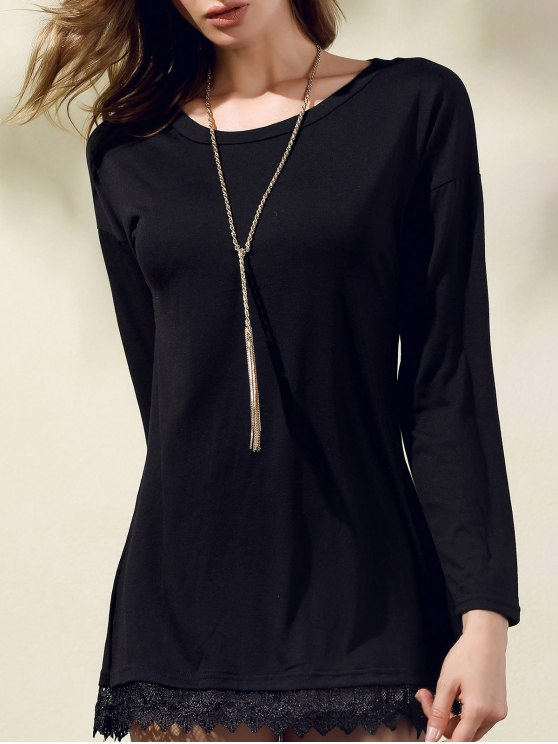 outfits Lacework Splicing Round Collar 3/4 Sleeve Black Dress - BLACK M