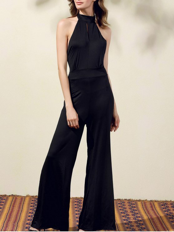 hot Black Halter Wide Leg Jumpsuit - BLACK L