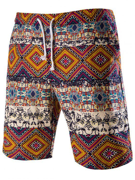 online Drawstring Tribal Printed Loose Fit Boardshorts - RED M